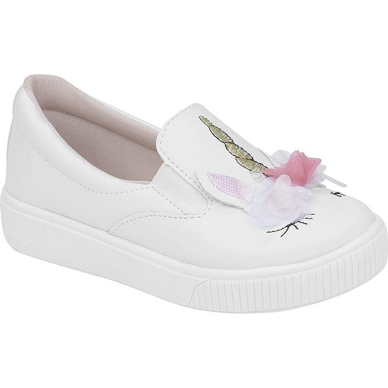 Slip On Unicórnio Casual Infantil Menina Fashion 155.112.001 | Branco