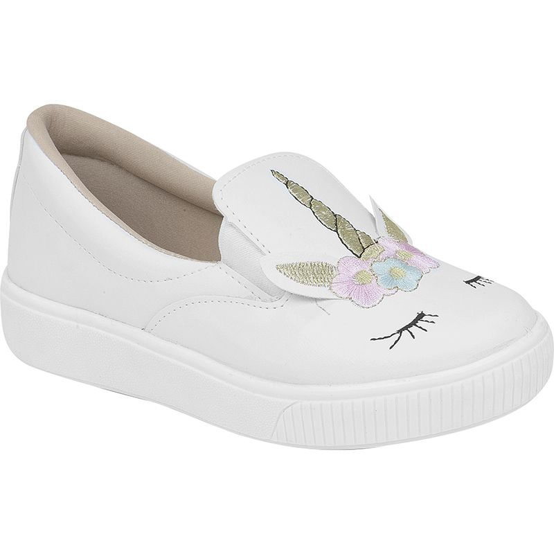 Slip On Unicórnio Infantil Bordado 155.100.001 | Branco