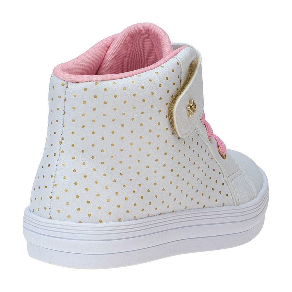 Tênis Bebê Cano Alto Casual Poá Dourado Velcro Cadarço 157.31.001 | Branco