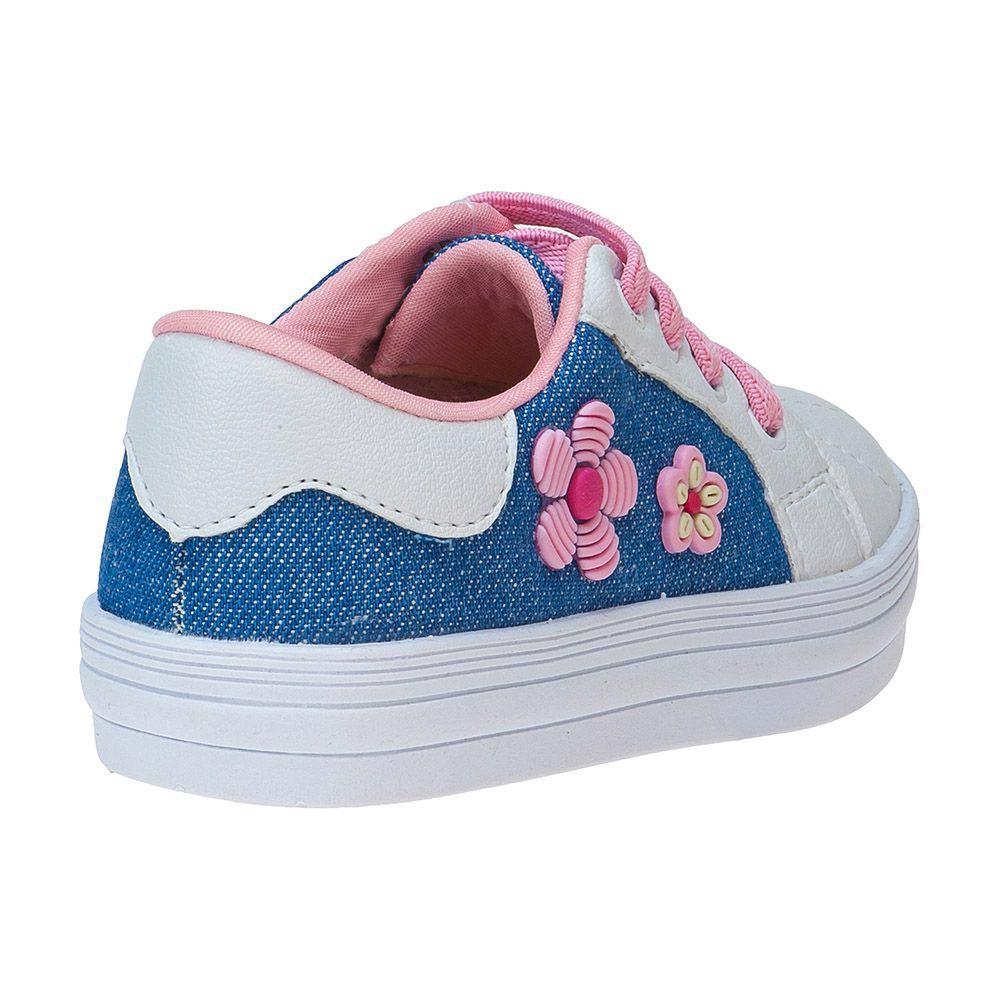 Tênis Bebê Flores Jeans Cadarço Elástico 157.28.031 | Jeans/Rosa