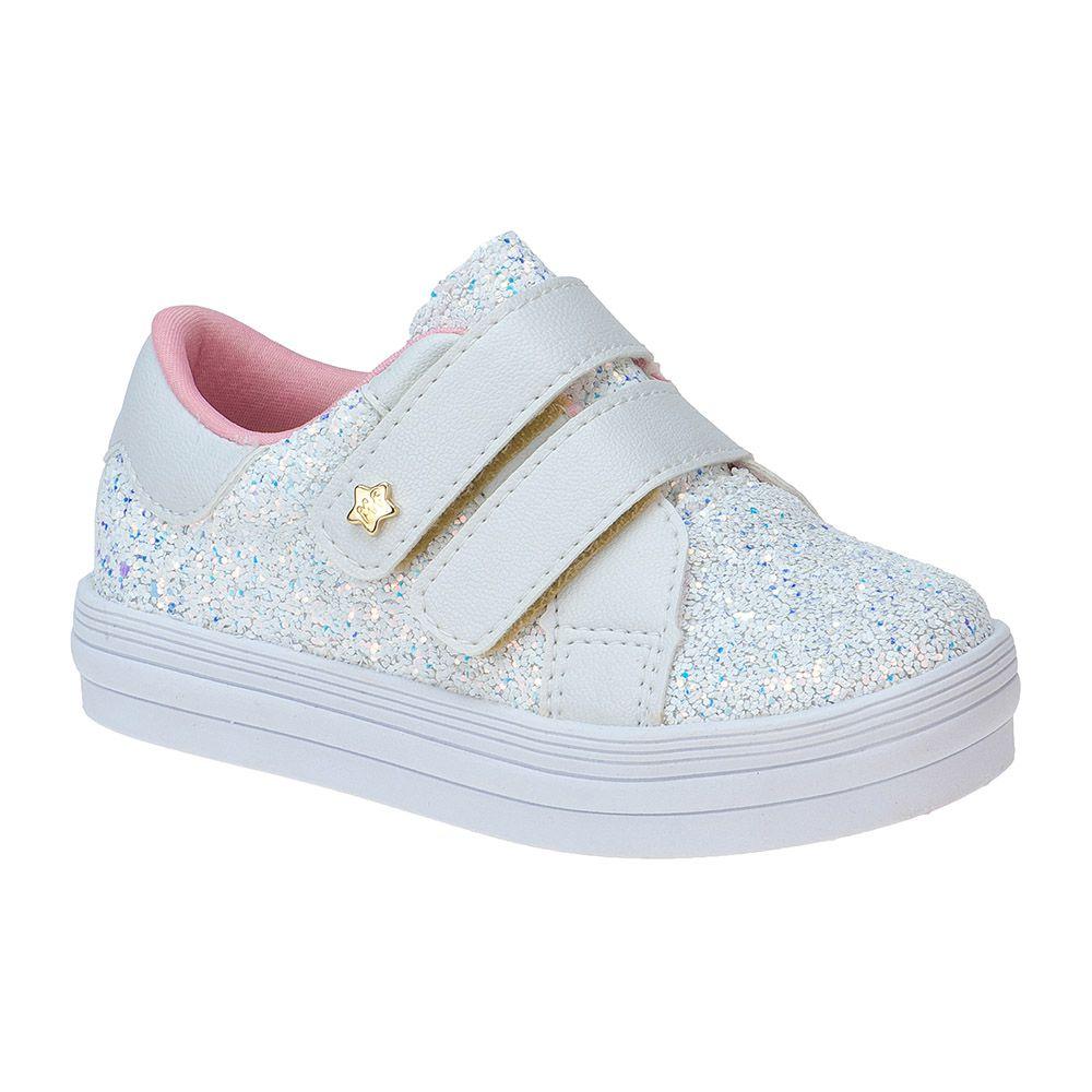 Tênis Bebê Menina Fashion Infantil Feminino Glitter Estrela 157.32.001 | Branco