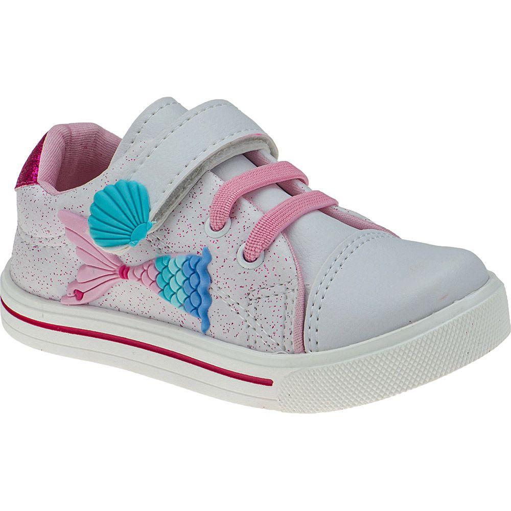 Tênis Bebê Menina Fashion Velcro Sereia Glitter Mar Conchas 157.42.001   Branco