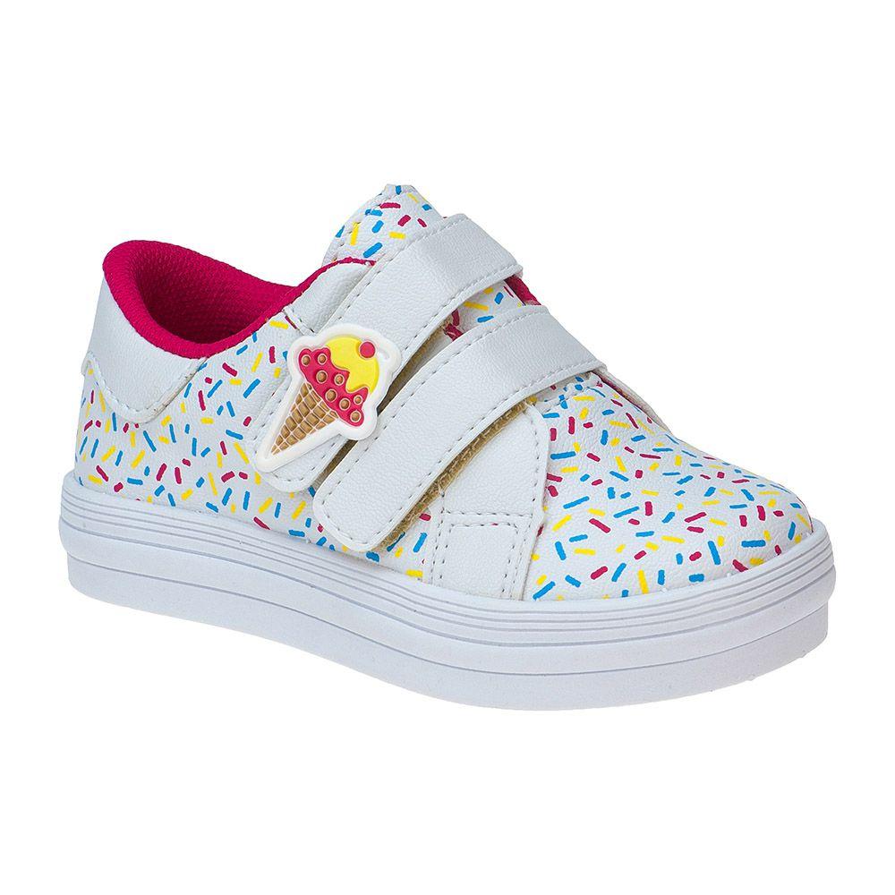Tênis Bebê Velcro Menina Fashion Sorvete 157.27.001   Branco