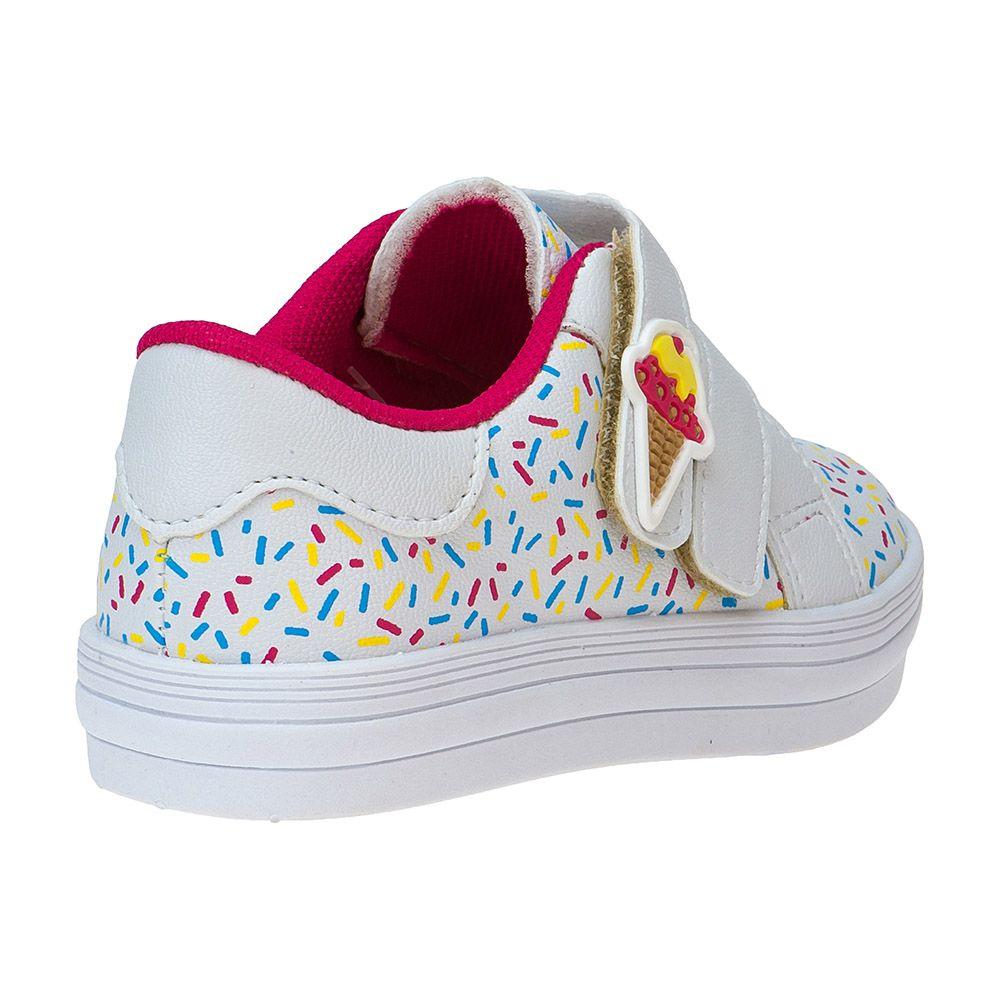Tênis Bebê Velcro Menina Fashion Sorvete 157.27.001 | Branco