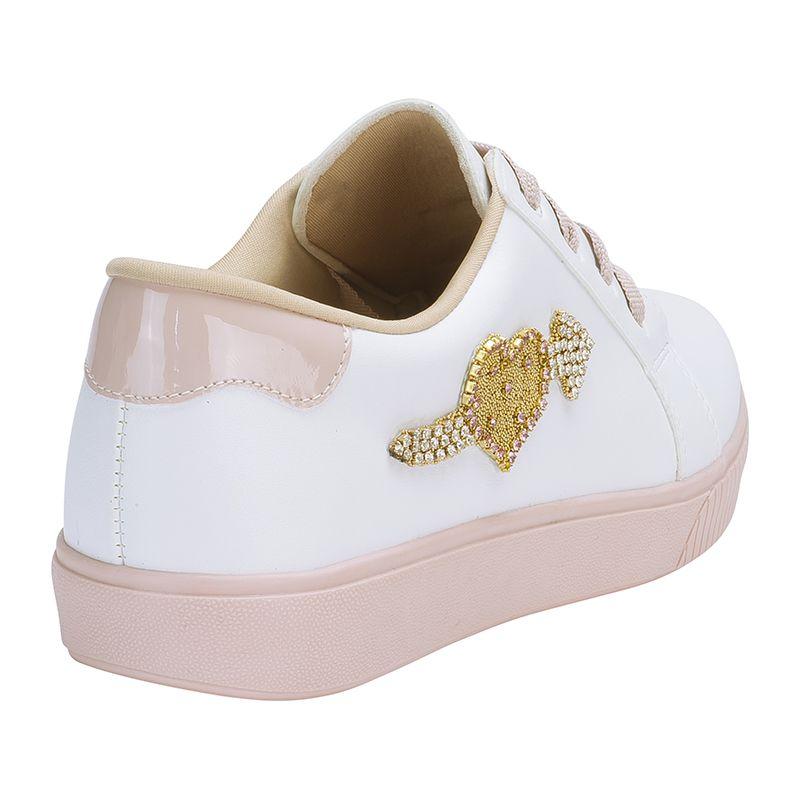 Tênis Casual Feminino Infantil in love Menina Fashion 110.10.001 | Branco