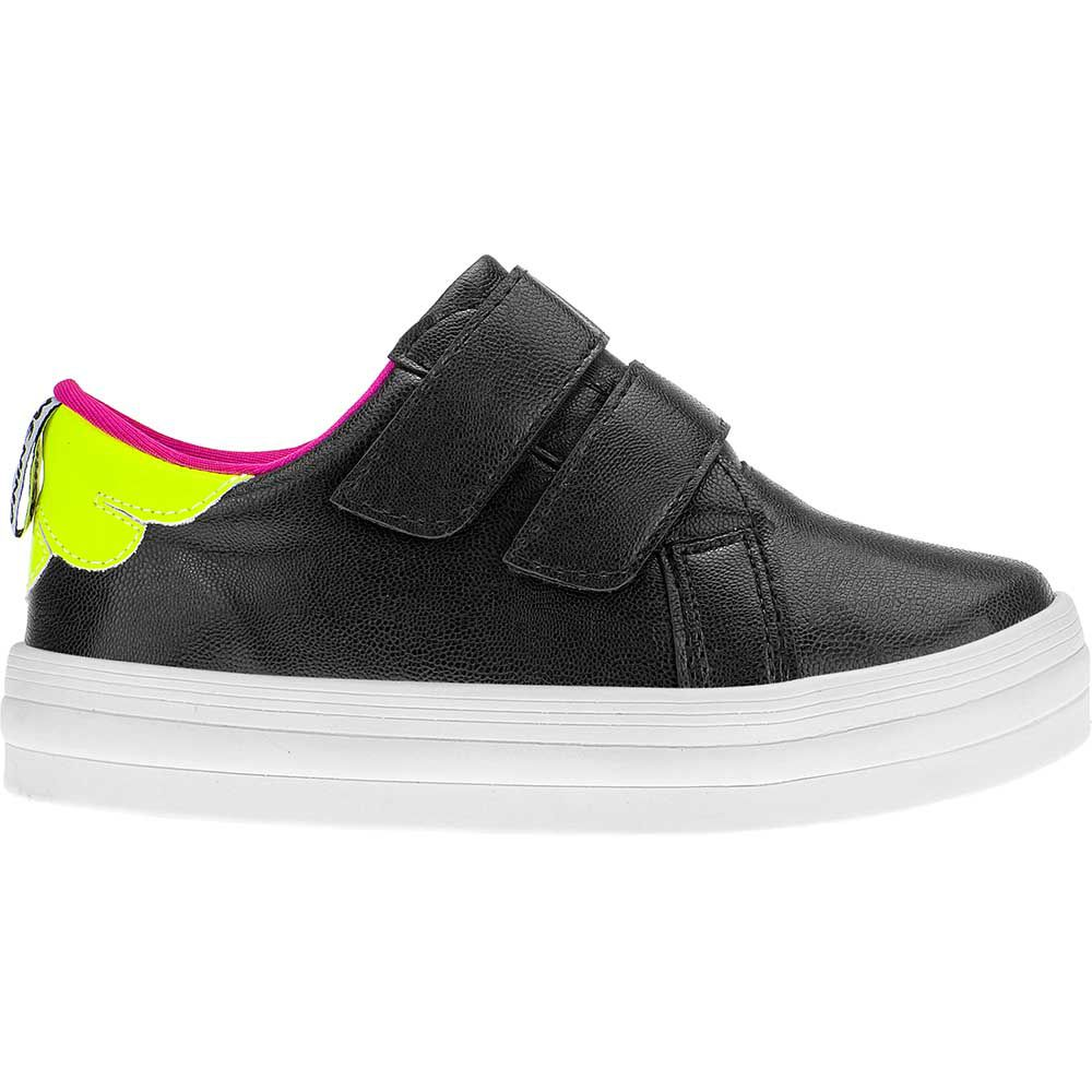 Tênis Casual Infantil Menina Fashion Detalhe Neon Velcro 155.209.009 | Preto