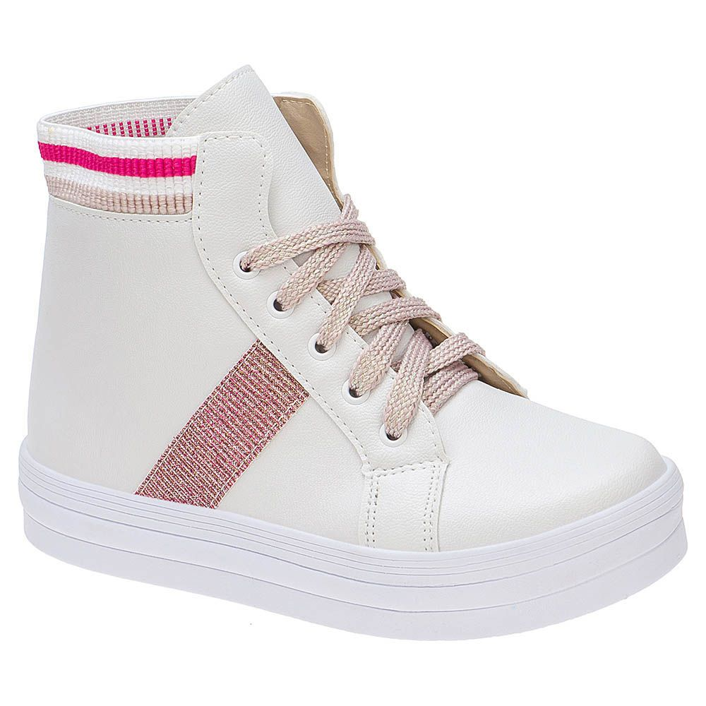 Tênis Casual Menina Fashion Cano Alto 155.198.093 | Branco / Pink