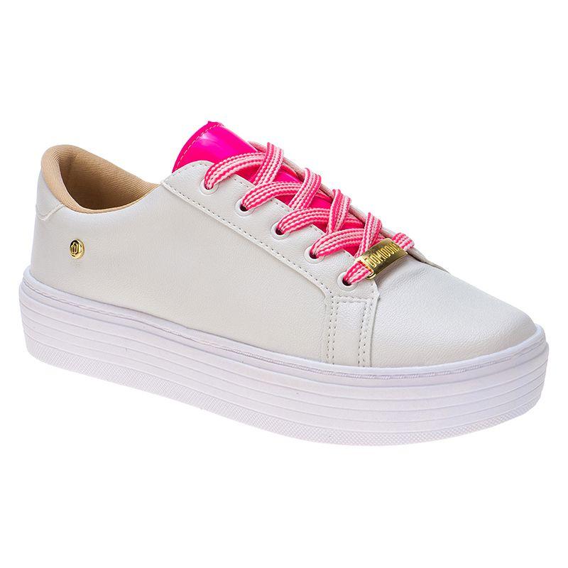 Tenis com cadarço neon 111.25.092 | Branco com Rosa