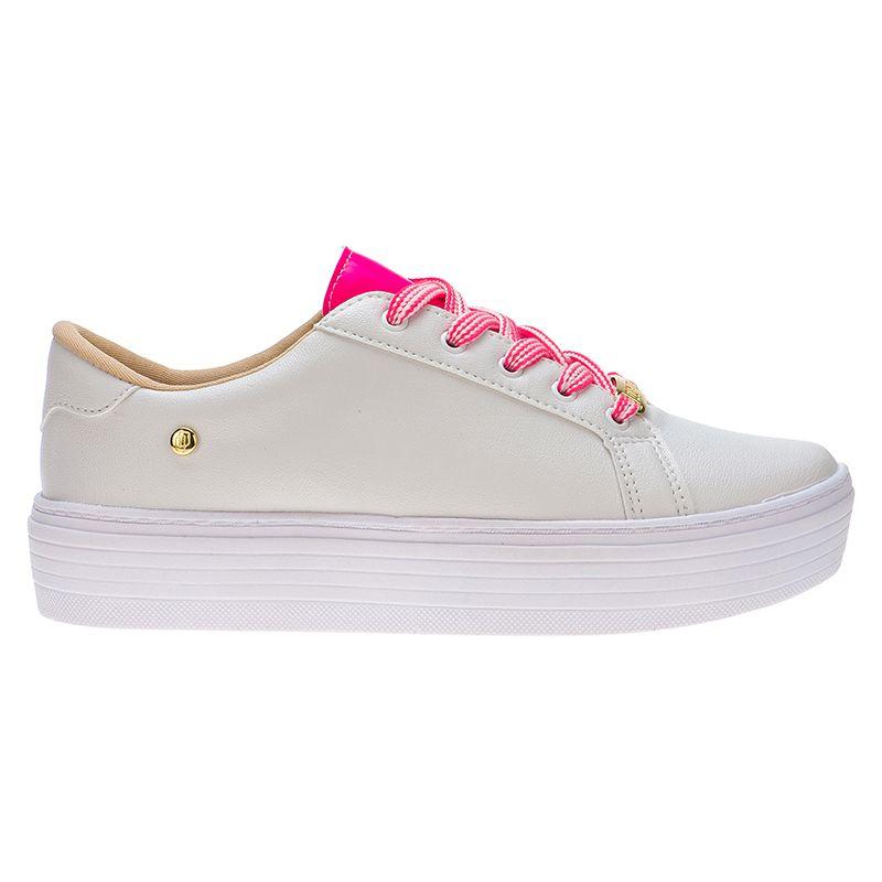 Tênis com cadarço neon 111.25.092 | Branco com Rosa