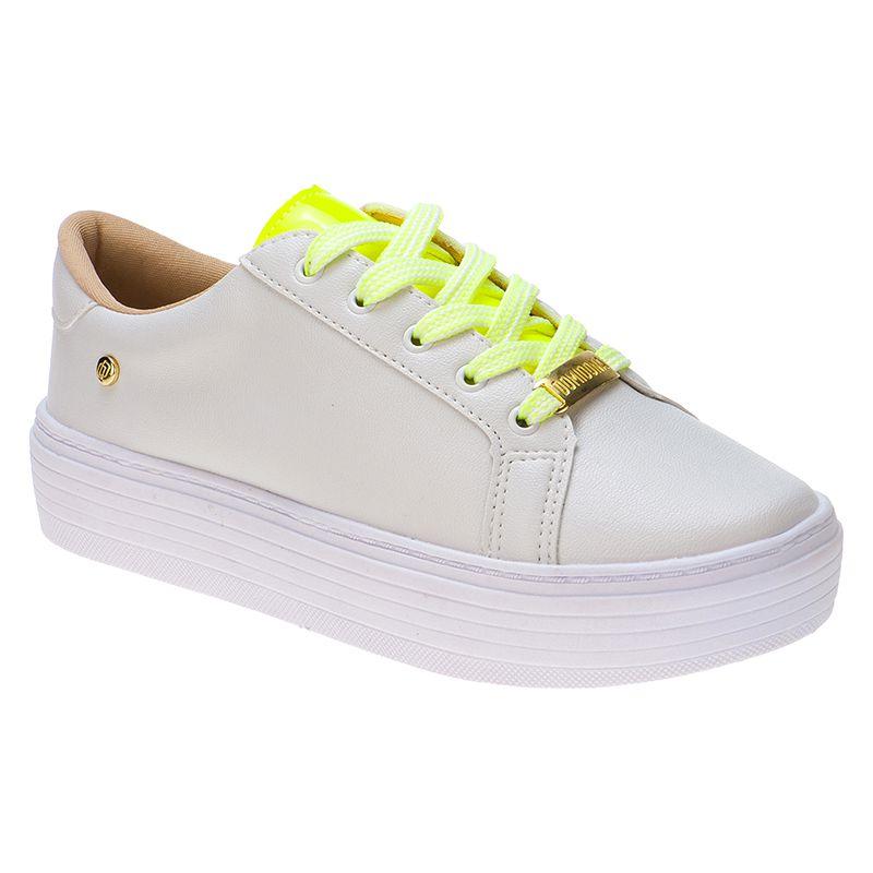 Tênis com cadarço neon 111.25.095 | Branco com Amarelo