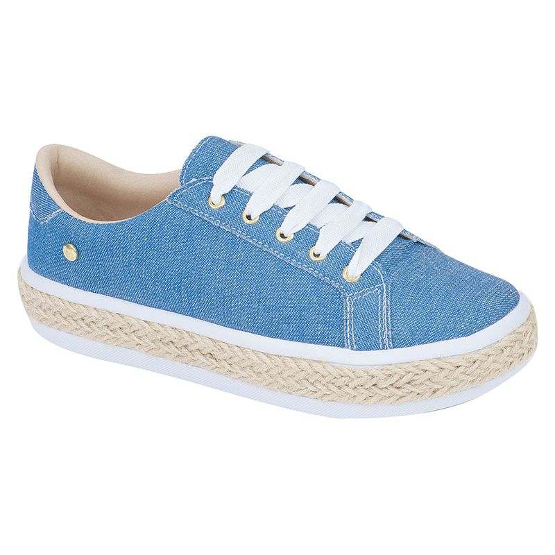 Tênis com sola de corda 111.16.031 | Jeans Azul