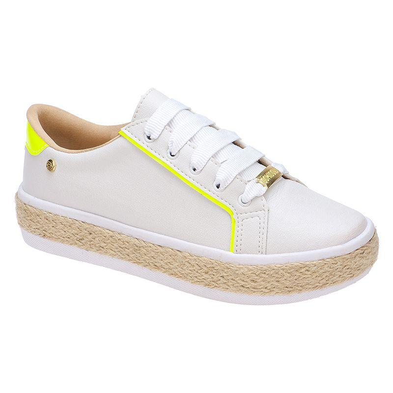 Tênis com sola de Corda Neon 111.26.095 | Branco com Amarelo
