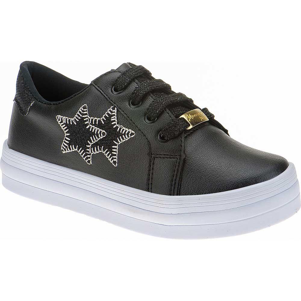 Tenis Estrelas Menina Fashion Cadarço Brilho 155.206.009 | Preto