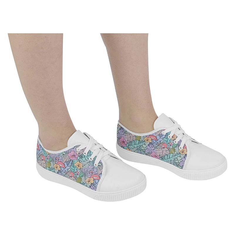 Tenis Feminino Casual Infantil Flamingo Estampado Menina Fashion 155.115.001 | Branco