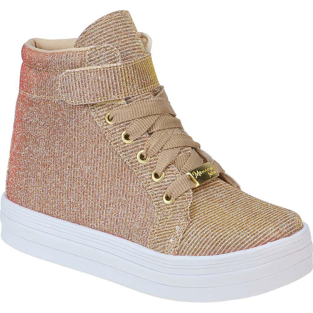 Tênis Feminino Infantil Menina Fashion Cano Alto Glitter 155.191.033 | Dourado