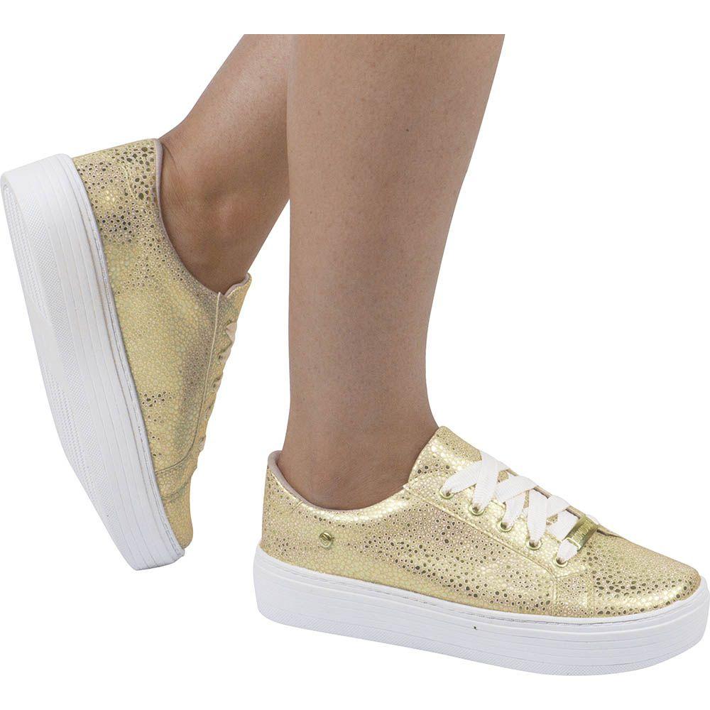 Tênis Flatform Feminino Casual Ouro Domidona Brilho 111.38.033 | Dourado
