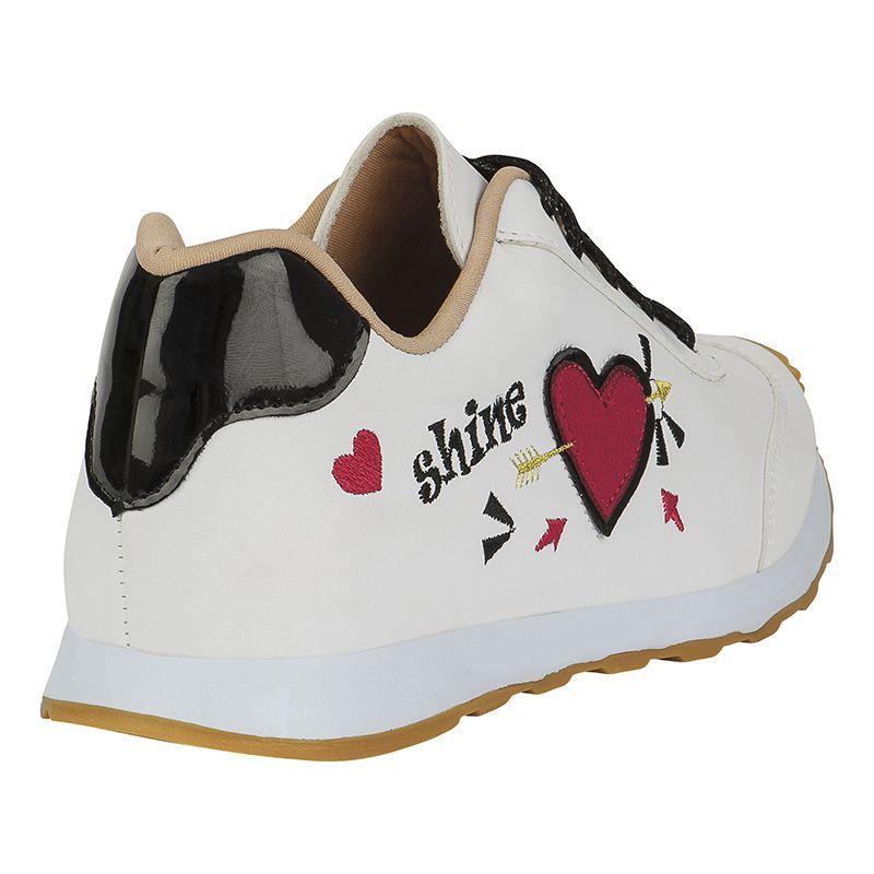 Tênis Jogging Infantil Menina Fashion Love Shine 156.15.001 | Branco