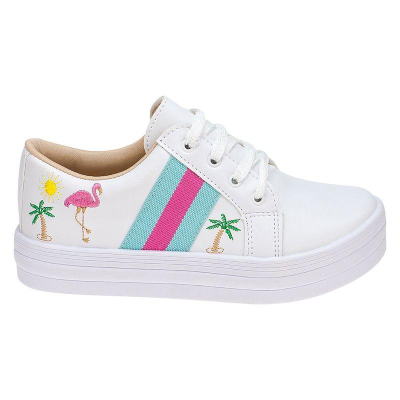 Tênis Menina Fashion Arco Iris Flamingo 155.130.001 | Branco