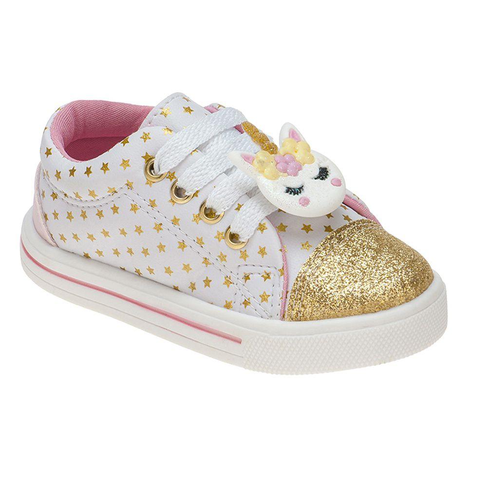 Tênis Menina Fashion Bebê Elástico Unicórnio Estrelas 157.14.001 | Branco