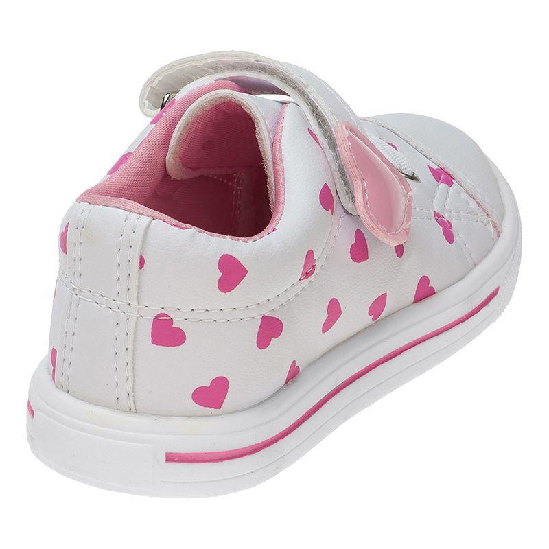 Tênis Menina Fashion Bebê Velcro Elástico Coração 157.21.001 | Branco