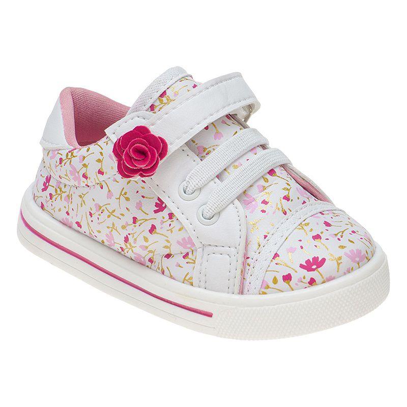Tênis Menina Fashion Bebê Velcro Elástico Flor 157.15.001 | Branco