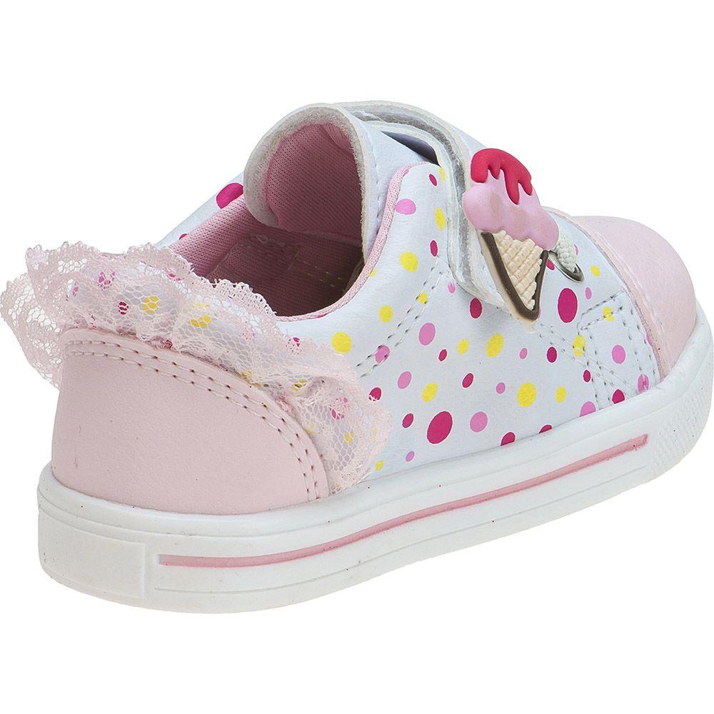 Tênis Menina Fashion Bebê Velcro Elástico Sorvete 157.35.001 | Branco