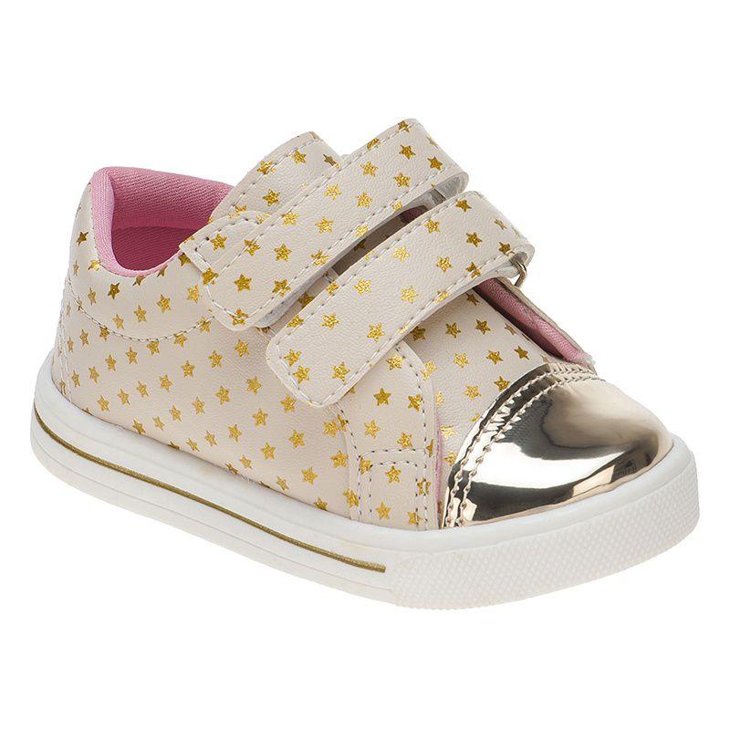 Tênis Menina Fashion Bebê Velcro Estrelas 157.19.020 | Bege