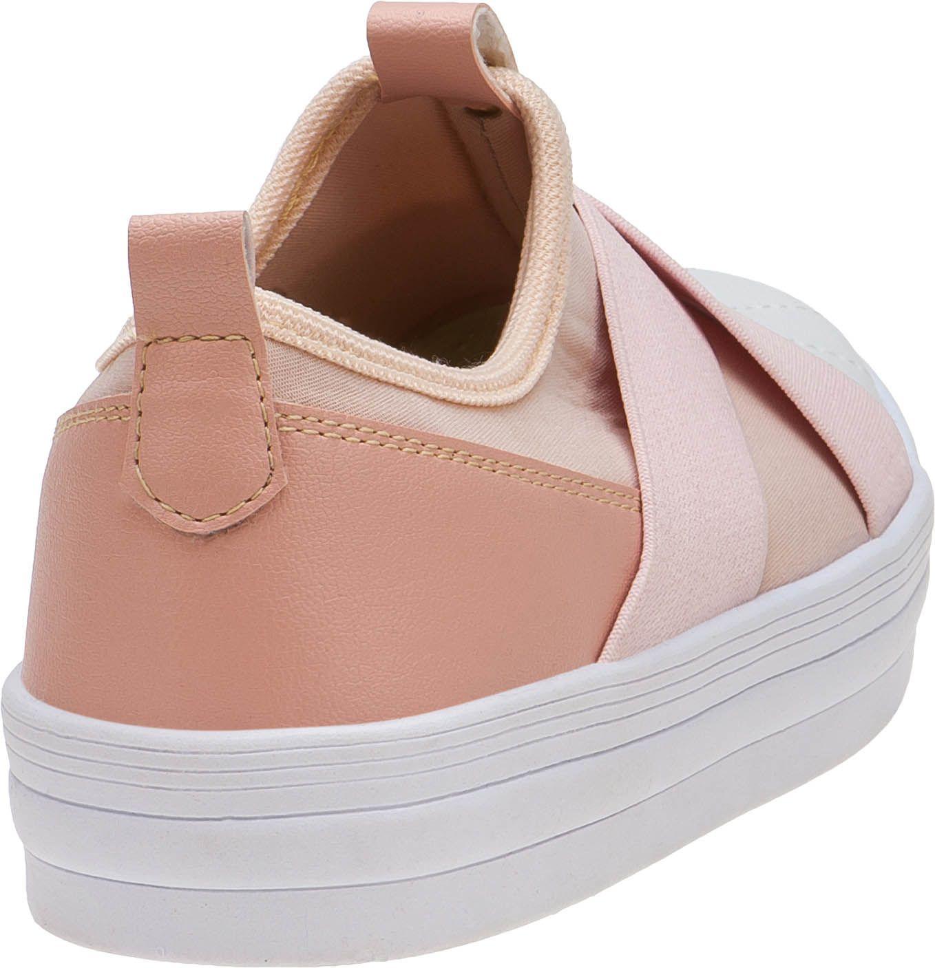 Tênis Menina Fashion Feminino Infantil Slip On Elástico Casual 155.201.041   Rosa