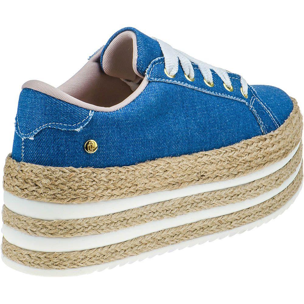 Tênis Plataforma Sola Corda Alta Casual Domidona 133.01.031 | Jeans Azul