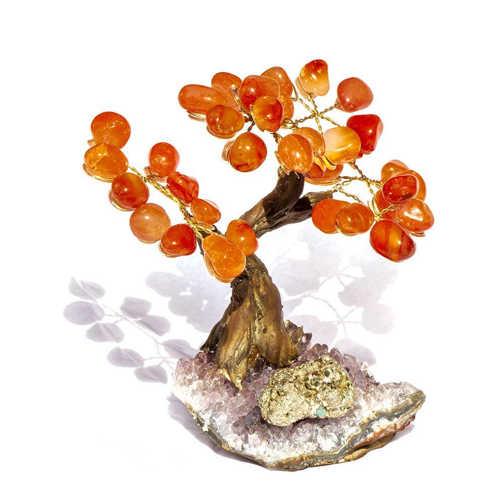 Árvore Pedras Ágata, Ametista e Pirita Prosperidade - 12 cm