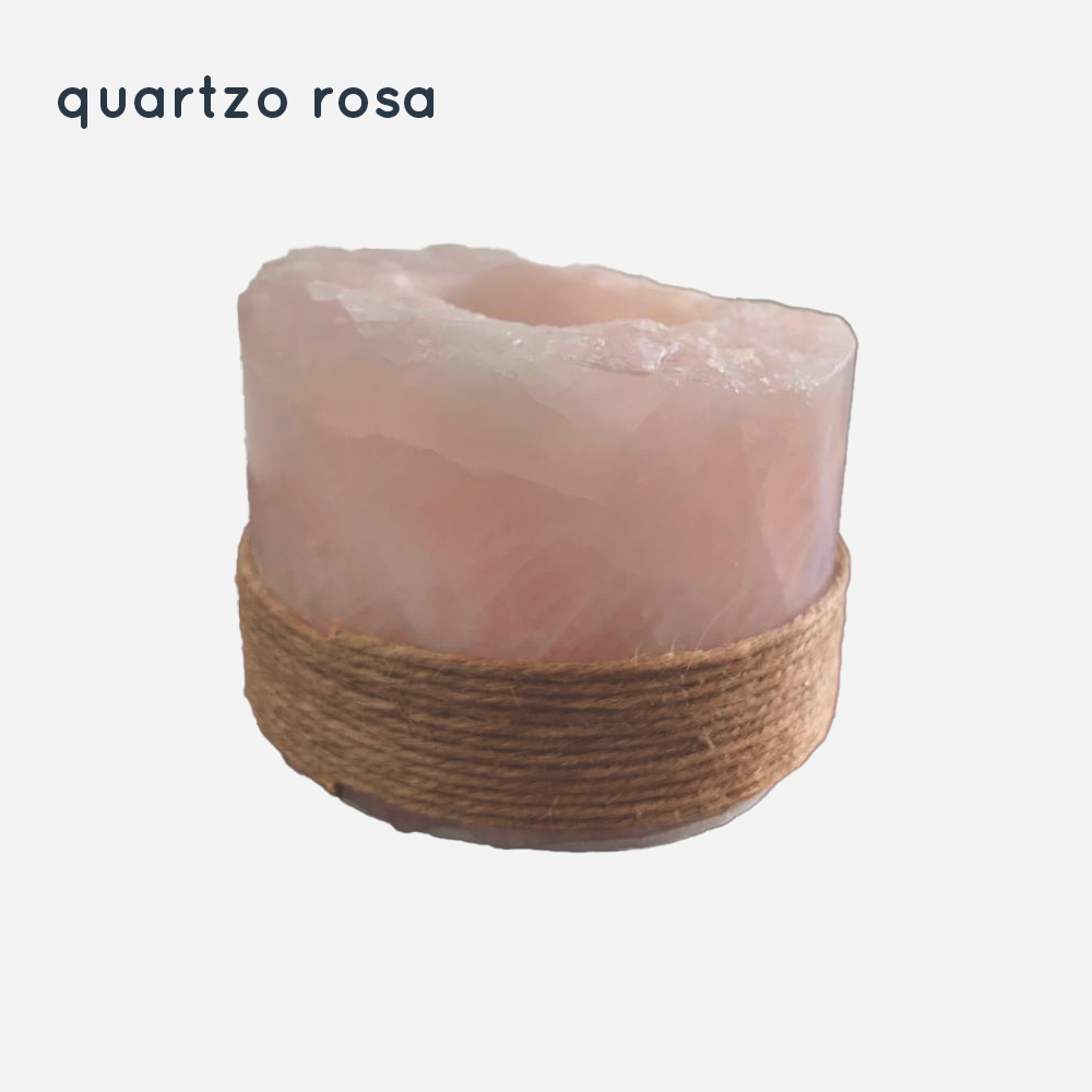Castiçal Cristal Porta Velas - Quartzo Branco E Quartzo Rosa
