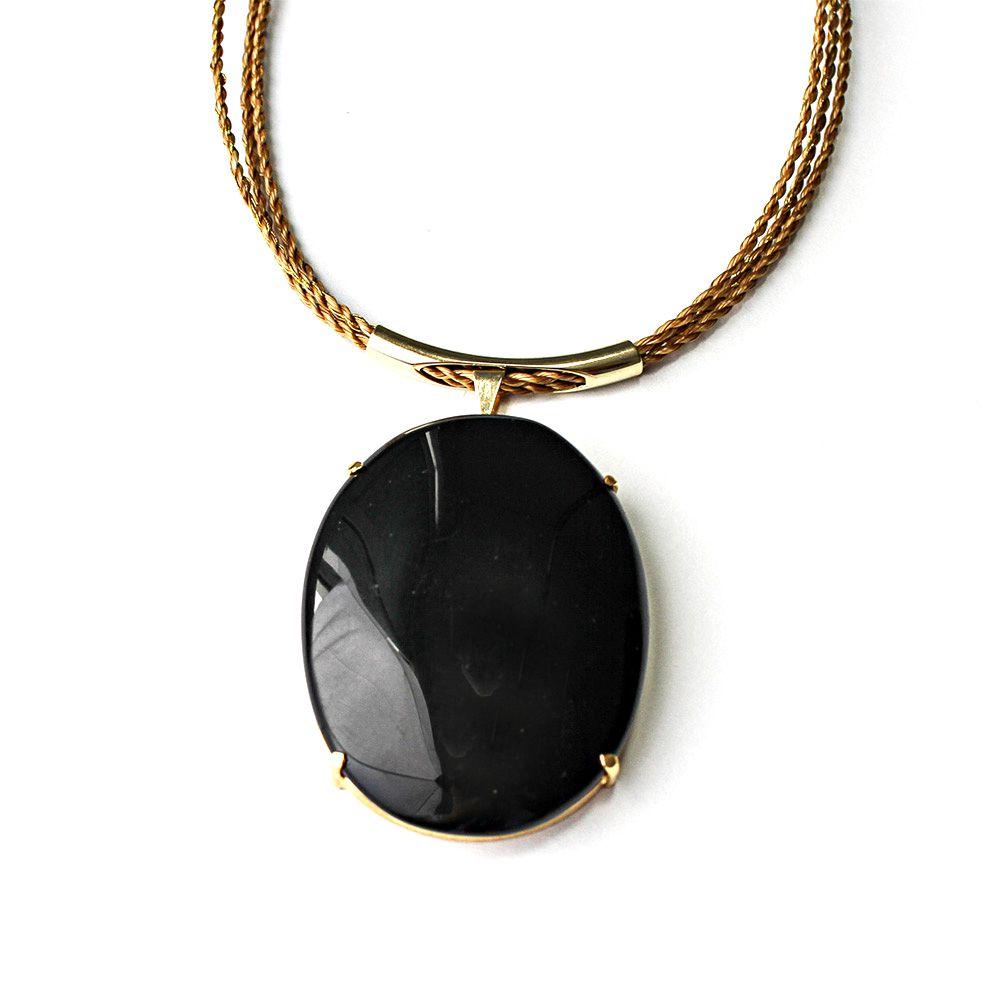 Colar de Capim Dourado - Pedra Onix
