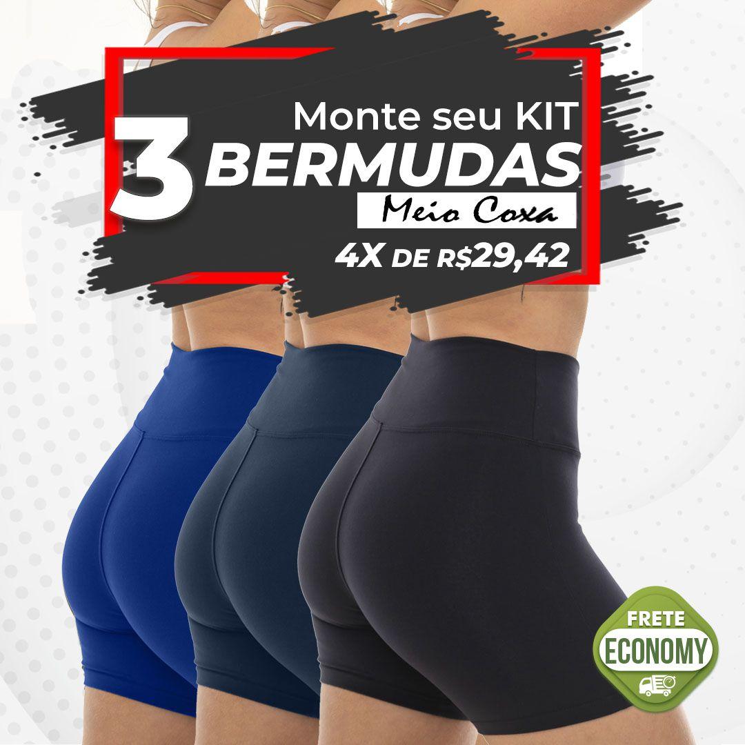 041c4f9dce Kit 3 Bermudas Meio Coxa Cós Alto Suplex - Analu Moda Feminina