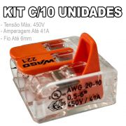 Kit 10 Conector Wago Emenda 3 Fios Mod. 221-613