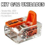 Kit 12 Conector Wago Emenda 2 Fios Mod. 221-612