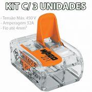 Kit 3 Conector Wago Emenda 2 Fios Mod. 221-412