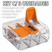 Kit 3 Conector Wago Emenda 3 Fios Mod. 221-413