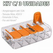 Kit 3 Conector Wago Emenda 5 Fios Mod. 221-415