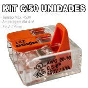 Kit 50 Conector Wago Emenda 3 Fios Mod. 221-613