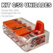Kit 50 Conector Wago Emenda 5 Fios Mod. 221-615