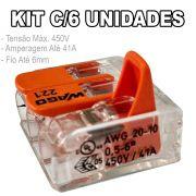 Kit 6 Conector Wago Emenda 3 Fios Mod. 221-613