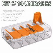 Kit Com 10 Conector Wago Emenda 5 Fios Mod 221-415