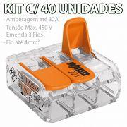 Kit Com 40 Conector Wago Emenda 3 Fios Mod 221-413