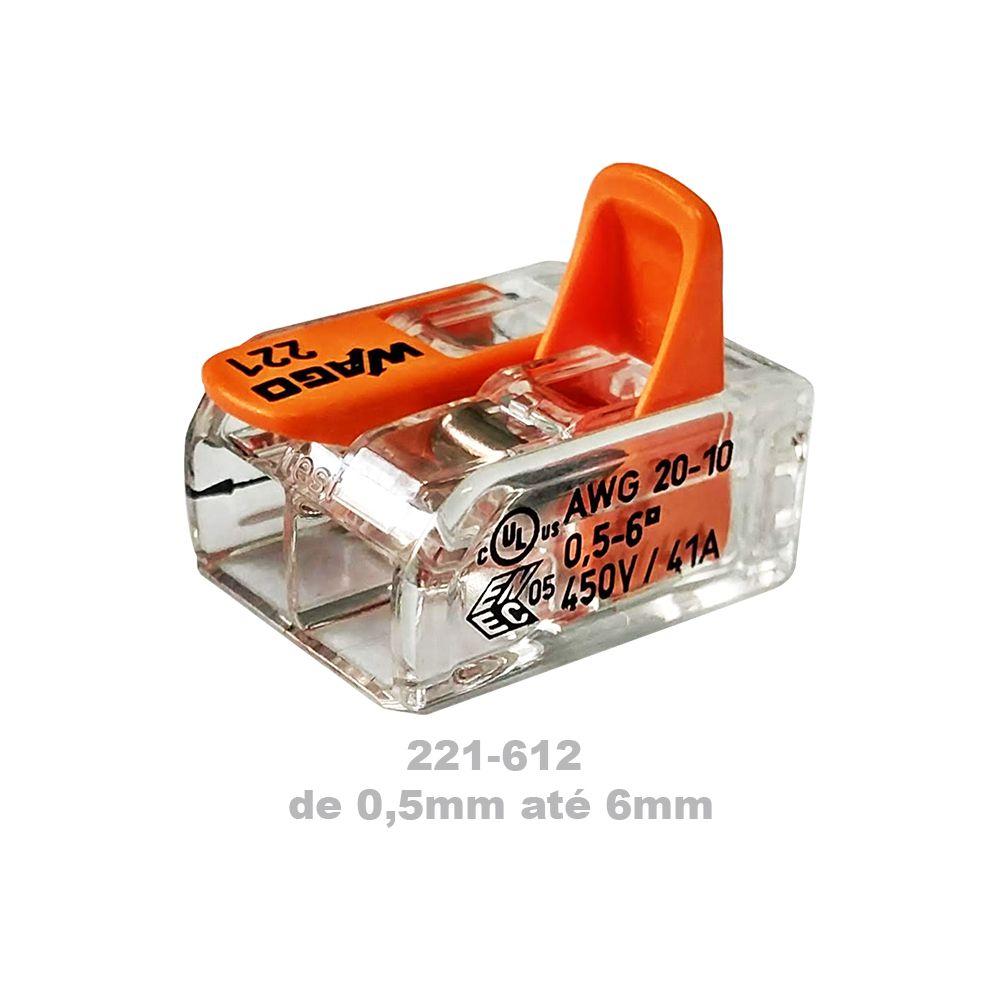 Conector Wago Emenda 2 Fios Mod. 221-612