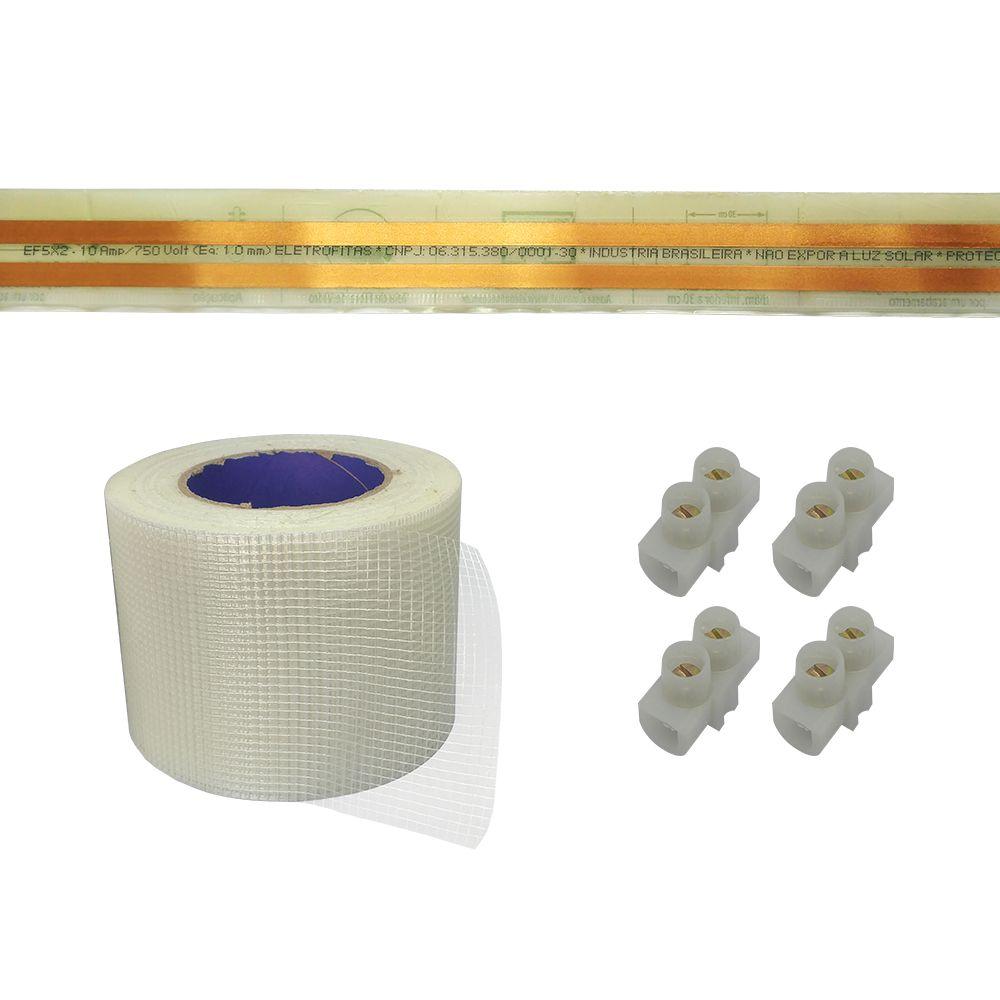 Kit Eletrofita 2 Pistas 10a 20 Metros + Malha + 20 Conectores