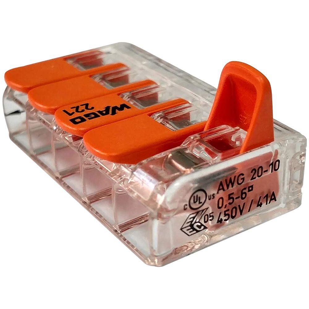 Kit 12 Conector Wago Emenda 5 Fios Mod. 221-615