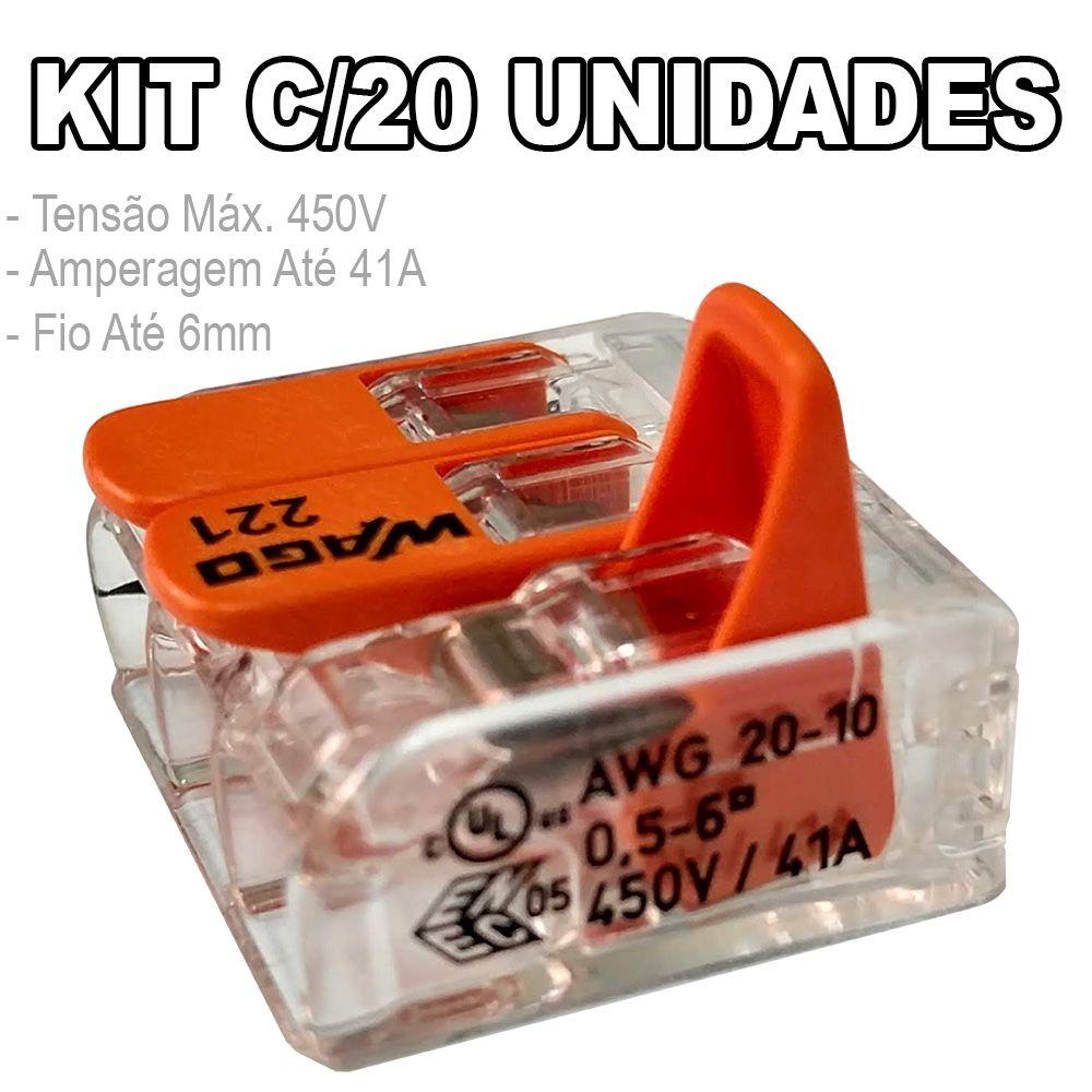 Kit 20 Conector Wago Emenda 3 Fios Mod. 221-613