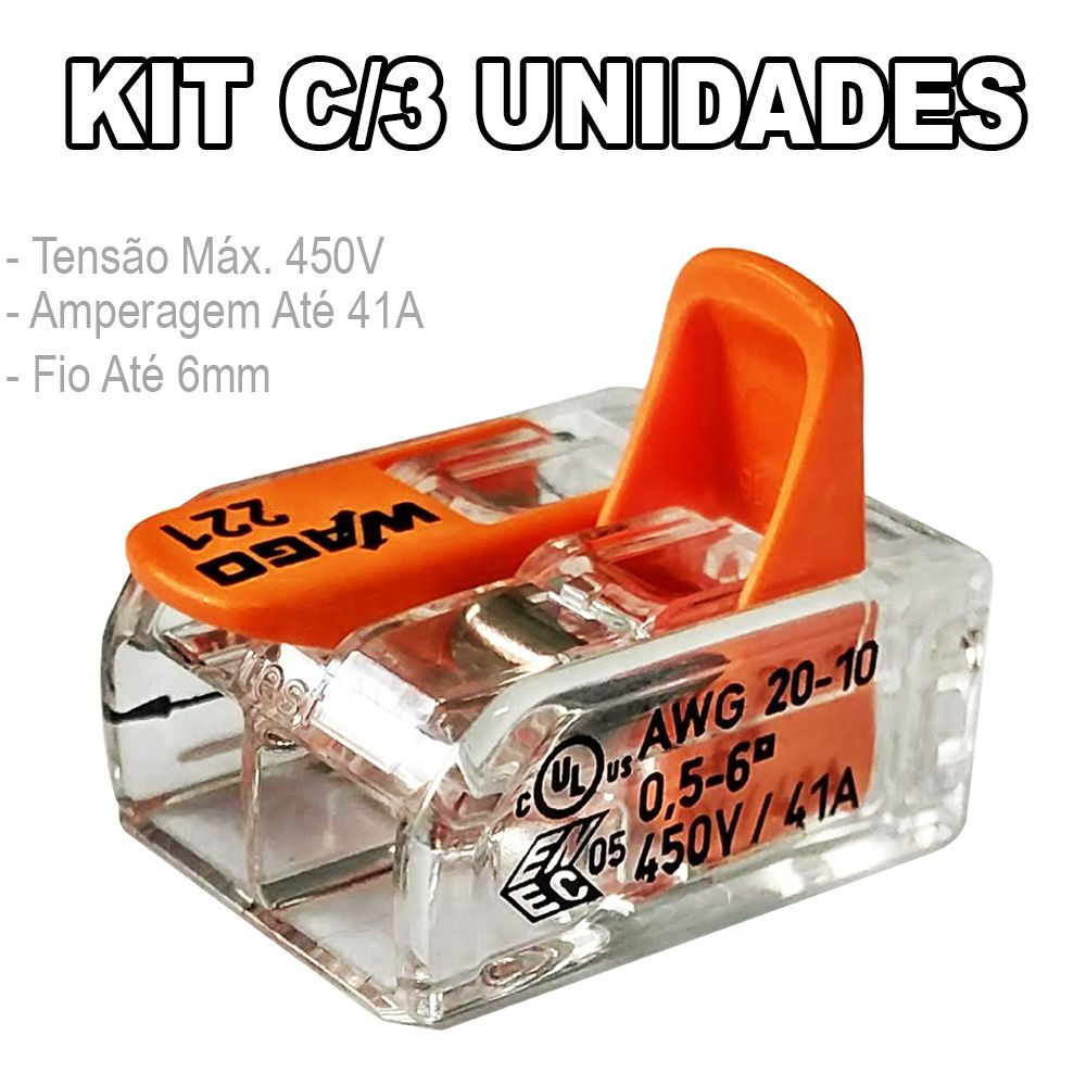 Kit 3 Conector Wago Emenda 2 Fios Mod. 221-612