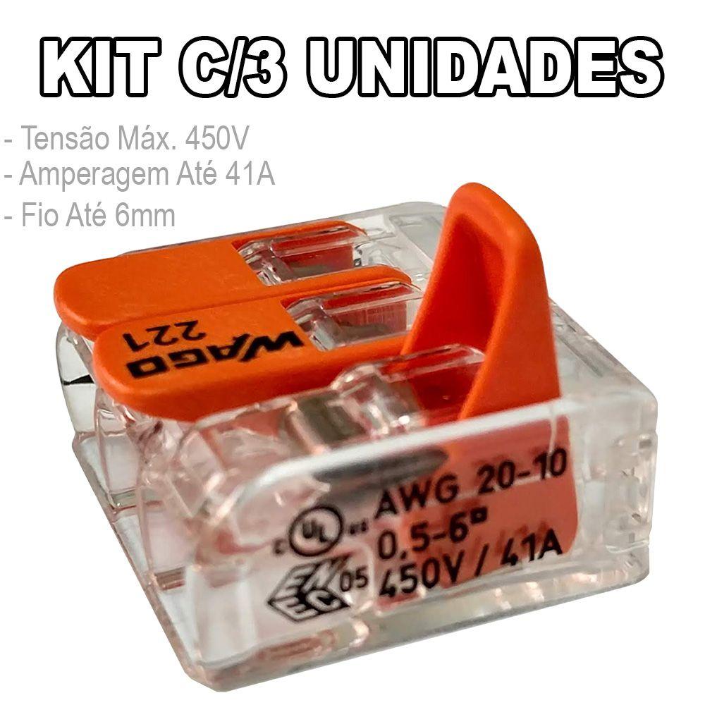 Kit 3 Conector Wago Emenda 3 Fios Mod. 221-613