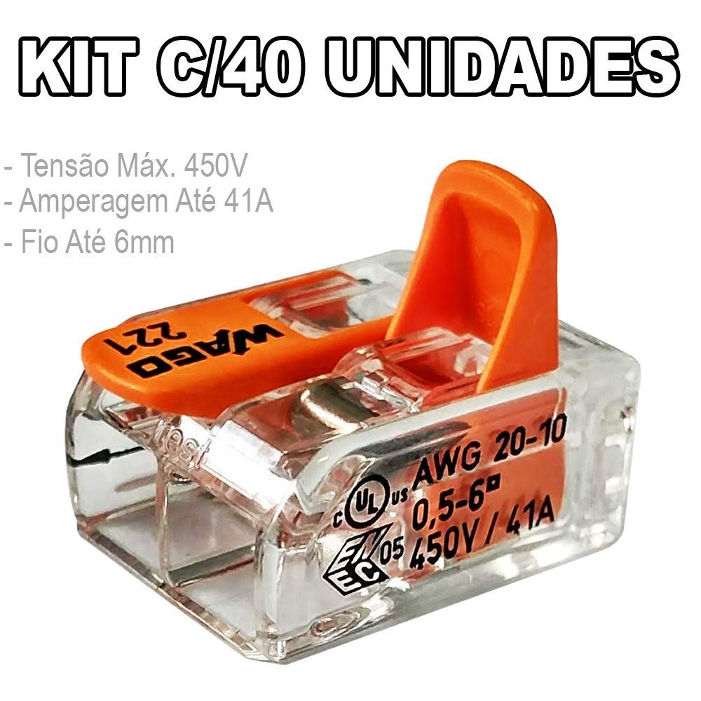 Kit 40 Conector Wago Emenda 2 Fios Mod. 221-612